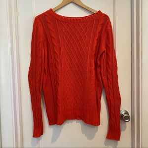 Old Navy Red Orange Cable Knit Sweater Size M